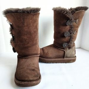 UGG Kids Bailey Button Brown Tall Boots Size 12